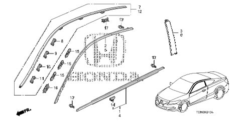2009 accord EXL-V6 2 DOOR 6MT MOLDING diagram