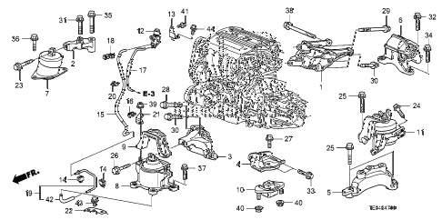 2011 accord LX-S 2 DOOR 5MT ENGINE MOUNTS (L4) (MT) diagram