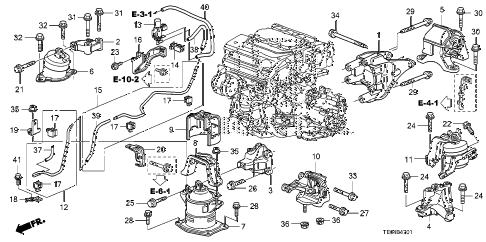 2008 accord EXL-V6 2 DOOR 6MT ENGINE MOUNTS (V6) (MT) diagram