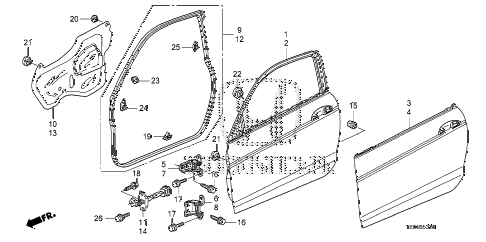 2009 accord EXL-V6 2 DOOR 6MT DOOR PANELS diagram