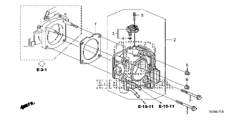 2011 accord EXL-V6 2 DOOR 6MT THROTTLE BODY (V6) diagram