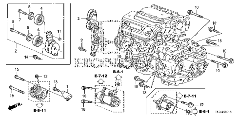 2009 accord EXL-V6 2 DOOR 6MT ALTERNATOR BRACKET (V6) diagram