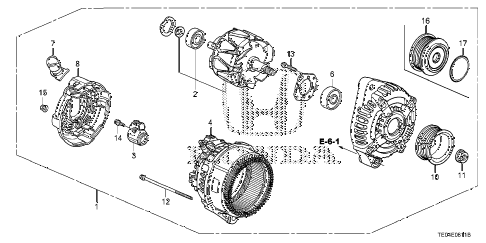 2008 accord EXL-V6(NAVI) 2 DOOR 6MT ALTERNATOR (DENSO) (V6) diagram