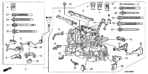 2010 accord LX-S 2 DOOR 5MT ENGINE WIRE HARNESS (L4) diagram