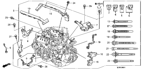 2008 accord EXL-V6(NAVI) 2 DOOR 6MT ENGINE WIRE HARNESS (V6) diagram