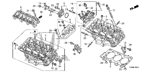 2010 accord EXL-V6 2 DOOR 6MT REAR CYLINDER HEAD (V6) diagram