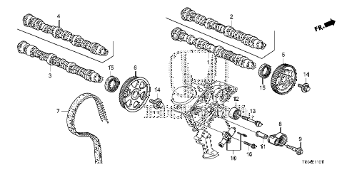 2008 accord EXL-V6 2 DOOR 6MT CAMSHAFT - TIMING BELT (V6) diagram