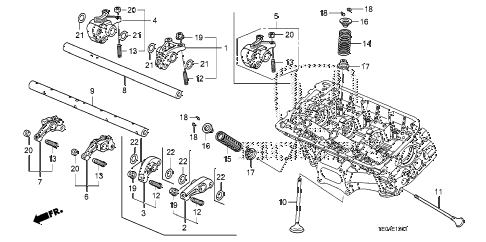 2008 accord EXL-V6 2 DOOR 6MT VALVE - ROCKER ARM (FR.) (V6) diagram