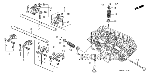 2010 accord EXL-V6 2 DOOR 6MT VALVE - ROCKER ARM (RR.) (V6) diagram