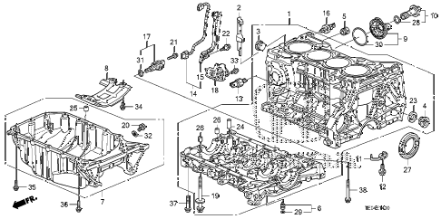 2011 accord LX-S 2 DOOR 5MT CYLINDER BLOCK - OIL PAN (L4) diagram