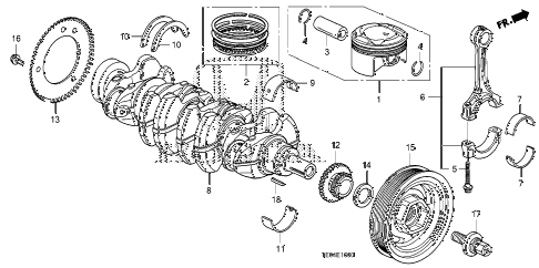 2010 accord EX-L(NAVI) 2 DOOR 5MT CRANKSHAFT - PISTON (L4) diagram