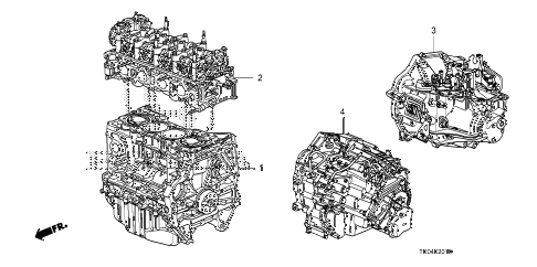 2010 accord LX-S 2 DOOR 5MT ENGINE ASSY. - TRANSMISSION ASSY. (L4) diagram