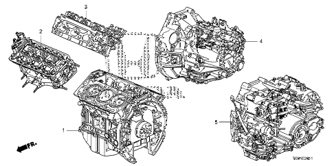 2011 accord EXL-V6(NAVI) 2 DOOR 6MT ENGINE ASSY. - TRANSMISSION ASSY. (V6) diagram