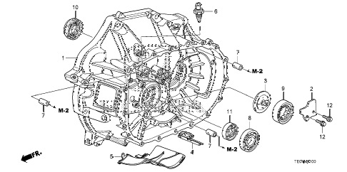 2010 accord EX-L(NAVI) 2 DOOR 5MT MT CLUTCH CASE (L4) diagram