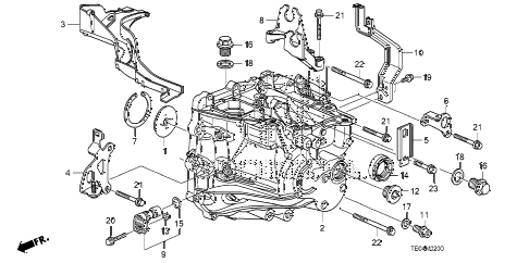 2010 accord EX-L(NAVI) 2 DOOR 5MT MT TRANSMISSION CASE (L4) diagram