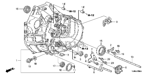 2010 accord EXL-V6 2 DOOR 6MT MT CLUTCH CASE (V6) diagram