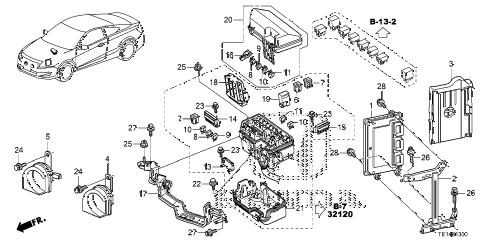 2012 accord LX-S 2 DOOR 5MT CONTROL UNIT (ENGINE ROOM) (1) (L4) diagram
