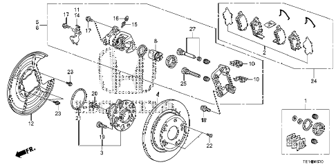 2012 accord LX-S 2 DOOR 5MT REAR BRAKE diagram