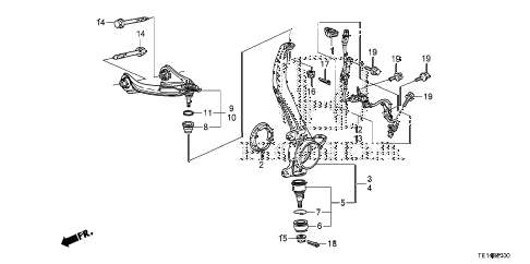 2012 accord LX-S 2 DOOR 5MT FRONT KNUCKLE diagram