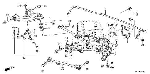 2012 accord LX-S 2 DOOR 5MT REAR LOWER ARM diagram