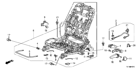 2012 accord LX-S 2 DOOR 5MT FRONT SEAT COMPONENTS (L.) (MANUAL HEIGHT) diagram