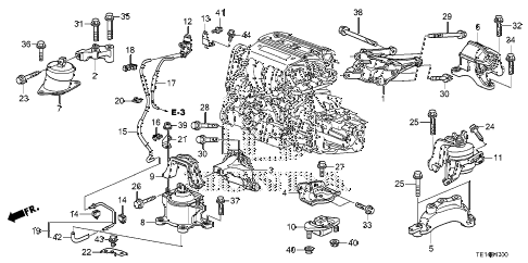 2012 accord LX-S 2 DOOR 5MT ENGINE MOUNTS (L4) (MT) diagram
