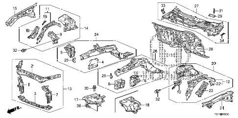 2012 accord LX-S 2 DOOR 5MT FRONT BULKHEAD - DASHBOARD diagram