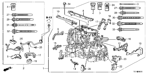 2012 accord LX-S 2 DOOR 5MT ENGINE WIRE HARNESS (L4) diagram