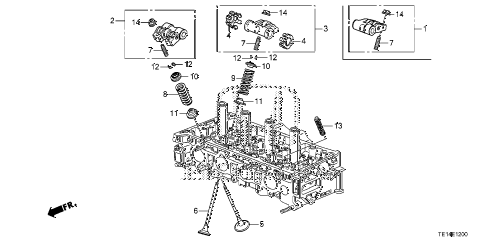 2012 accord LX-S 2 DOOR 5MT VALVE - ROCKER ARM (L4) diagram