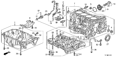 2012 accord LX-S 2 DOOR 5MT CYLINDER BLOCK - OIL PAN (L4) diagram