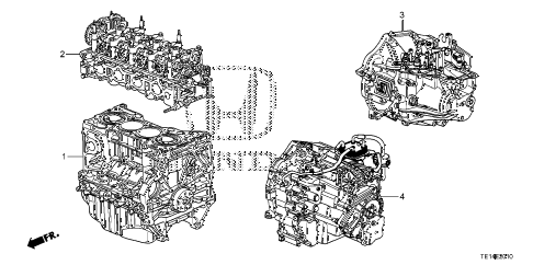 2012 accord LX-S 2 DOOR 5MT ENGINE ASSY. - TRANSMISSION ASSY. (L4) diagram