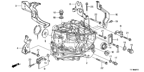 2012 accord LX-S 2 DOOR 5MT MT TRANSMISSION CASE (L4) diagram