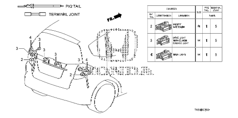 2010 fit FIT(SUZUKA PLANT) 5 DOOR 5MT ELECTRICAL CONNECTORS (RR.) diagram
