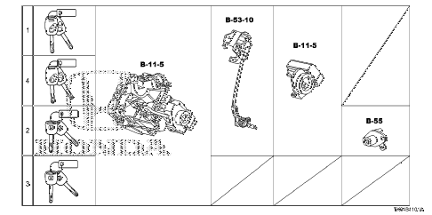 2012 fit SPORT(SUZUKA PLANT) 5 DOOR 5MT KEY CYLINDER SET diagram
