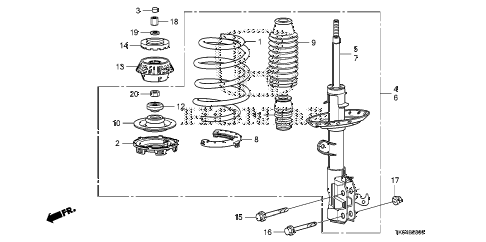 2010 fit SPORT(SUZUKA PLANT) 5 DOOR 5MT FRONT SHOCK ABSORBER diagram