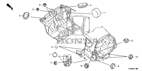 2010 fit SPORTN(SUZUKA PLANT) 5 DOOR 5MT GROMMET (RR.) diagram