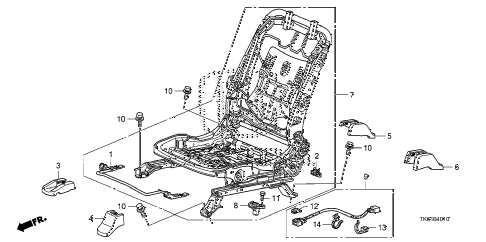 2012 fit SPORT(SUZUKA PLANT) 5 DOOR 5MT FRONT SEAT COMPONENTS (L.) diagram