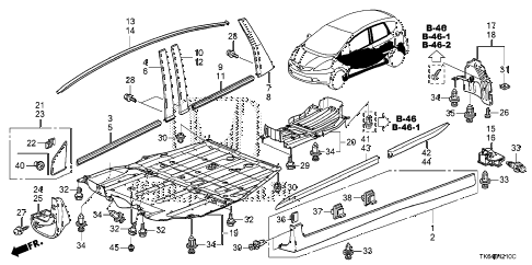 2010 fit SPORTN(NV,SUZUKA PLAN 5 DOOR 5MT MOLDING - PROTECTOR diagram
