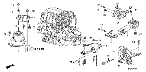 2010 fit SPORTN(NV,SAYAMA PLAN 5 DOOR 5MT ENGINE MOUNT (MT) diagram