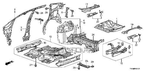 2011 fit SPORT(SUZUKA PLANT) 5 DOOR 5MT FLOOR - INNER PANEL diagram