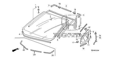 2010 fit SPORTN(SUZUKA PLANT) 5 DOOR 5MT FRONT WINDSHIELD diagram