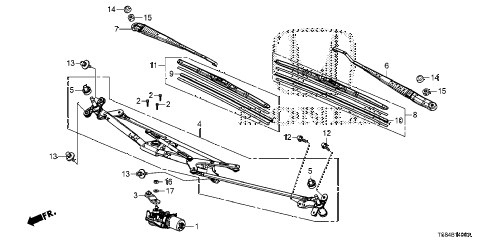 2012 civic DX 2 DOOR 5MT FRONT WINDSHIELD WIPER diagram