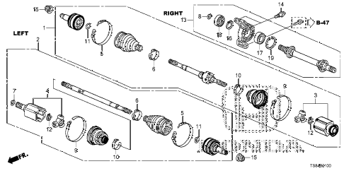2012 civic DX 2 DOOR 5MT DRIVESHAFT - HALF SHAFT (1.8L) (MT) diagram