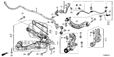 2012 civic DX 2 DOOR 5MT REAR LOWER ARM diagram