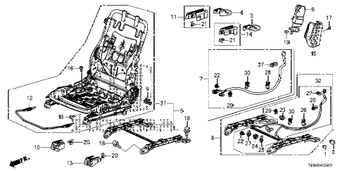2012 civic DX 2 DOOR 5MT FRONT SEAT COMPONENTS (PASSENGER SIDE) diagram