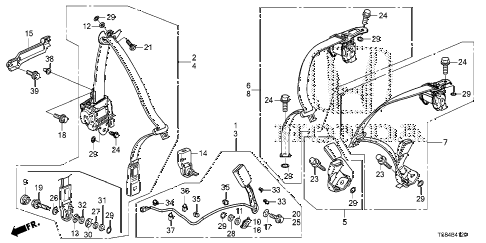 2012 civic DX 2 DOOR 5MT SEAT BELTS diagram