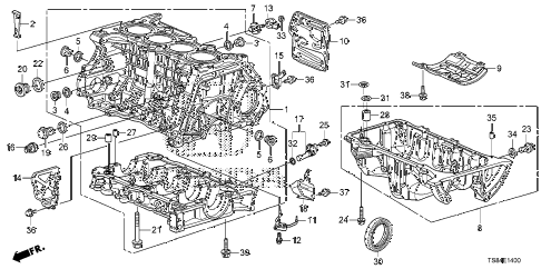 2012 civic DX 2 DOOR 5MT CYLINDER BLOCK - OIL PAN (1.8L) diagram
