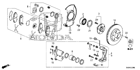 2014 fit STD 5 DOOR 1AT FRONT BRAKE diagram