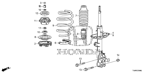 2014 fit STD 5 DOOR 1AT FRONT SHOCK ABSORBER diagram