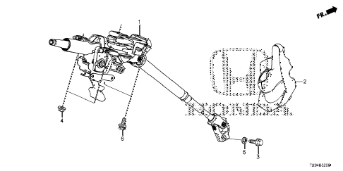 2013 fit STD 5 DOOR 1AT STEERING COLUMN diagram